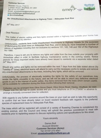 """""""Abbeydale Park Rise letter 30th May 2017"""
