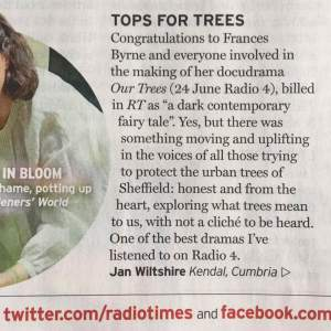 """Our Trees on Radio 4, Radio Time letter"